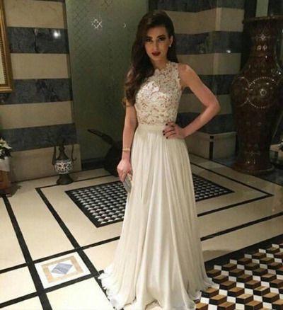 White Elegant Long Evening Dresses