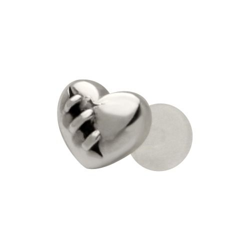 Wounded Heart - 925 Sterling Silver & Bioplast Tragus Piercing Earring or Labret Lip Ring at FreshTrends.com