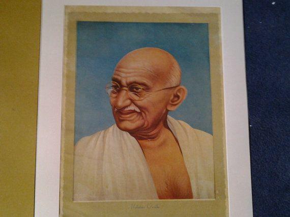 A 1947 Print of Mahatma Gandhi. Mounted. by Lallibhai on Etsy, £25.00