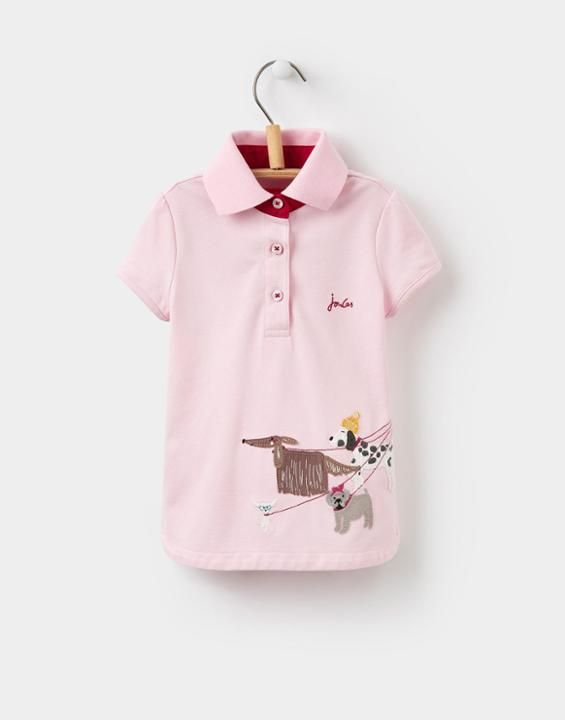 Joules US MOXIE YoungerGirls Applique Polo Shirt 1-6yr Rose Pink Hipster Dog