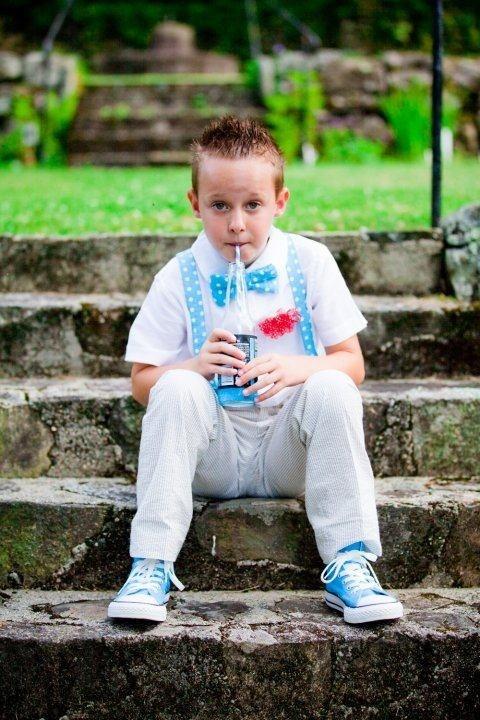 Junior Groomsmen In Suspenders Bow Tie Wedding Jones Soda Turquoise Wedding Pinterest