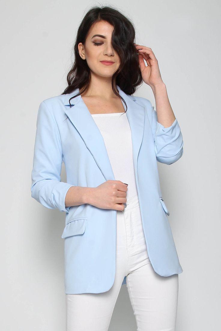 Wholesale Clothing UK, Online Fashion Wholesaler  Manchester & USA - Missi Clothing Ruched Sleeve Longline Blazer