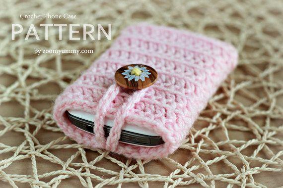 Crochet Pattern Crocheted Cell Phone Cover por ZoomYummy en Etsy, $3.80