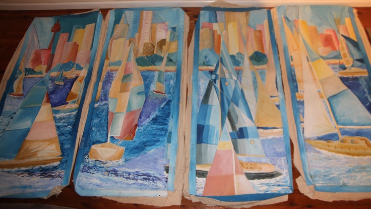 This was the painting I did for my Year 12 Major Work in 2000. Its called 'Twilight' and was painted with Techniques from Giacomo Balla, John Firth-Smith and Lyonel Feininger. It was painted across 4 panels that when hung in a series has the effect of looking through a window. By Lauren L