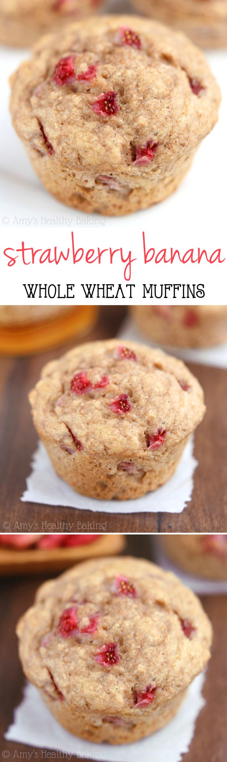 Clean-Eating Whole Wheat Strawberry Banana Muffins -- this healthy recipe practically tastes like cupcakes! Barely 125 calories!
