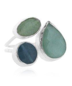 Ring drie stenen zilver groen, Ringen