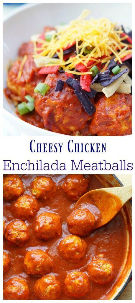 Cheesy Chicken Enchilada Meatballs