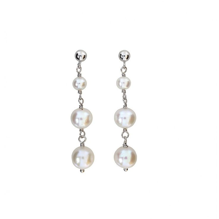 Freshwater Pearl Three Drop Earrings #Silver #Pearl #Earrings #DropEarrings #PearlEarrings #WeddingJewellery