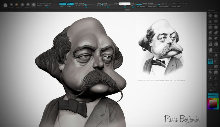 Speed sculpt zbrush of Gustave Flaubert based on 2D concept by Thierry Coquelet, Pierre Benjamin on ArtStation at https://www.artstation.com/artwork/wr5rV