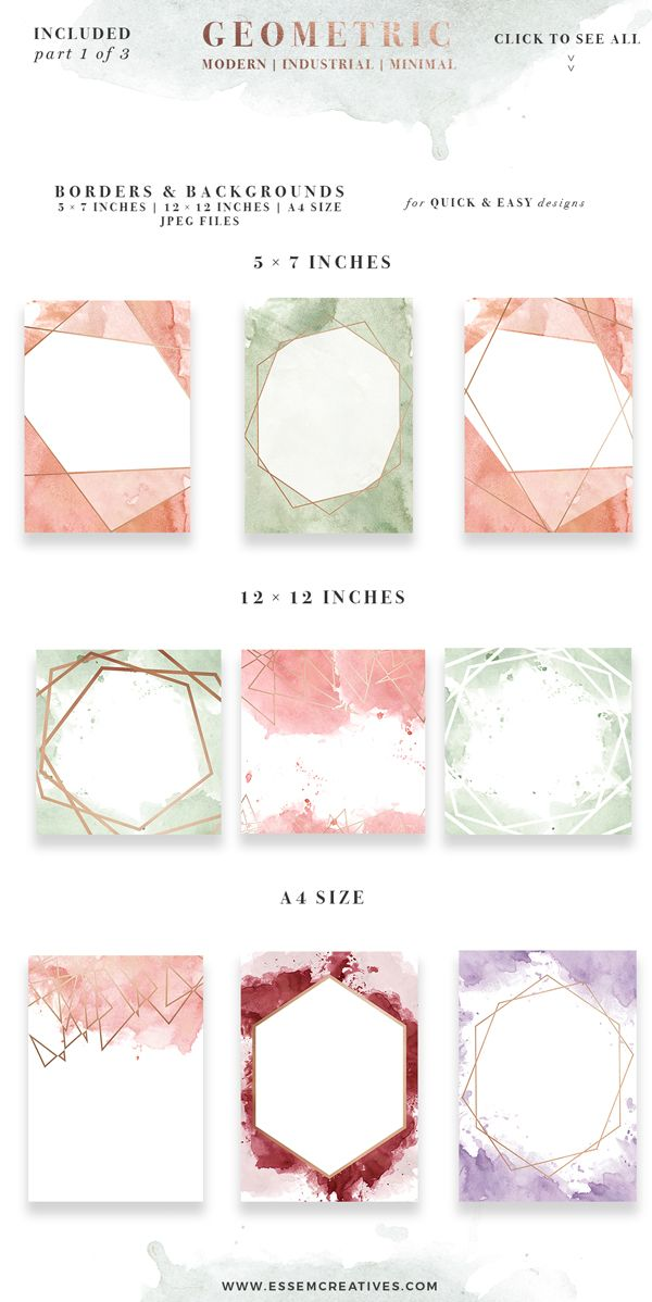 DIY Geometric Watercolor Wedding Invitation Backgrounds & Clipart, Table Number Decorations DIY