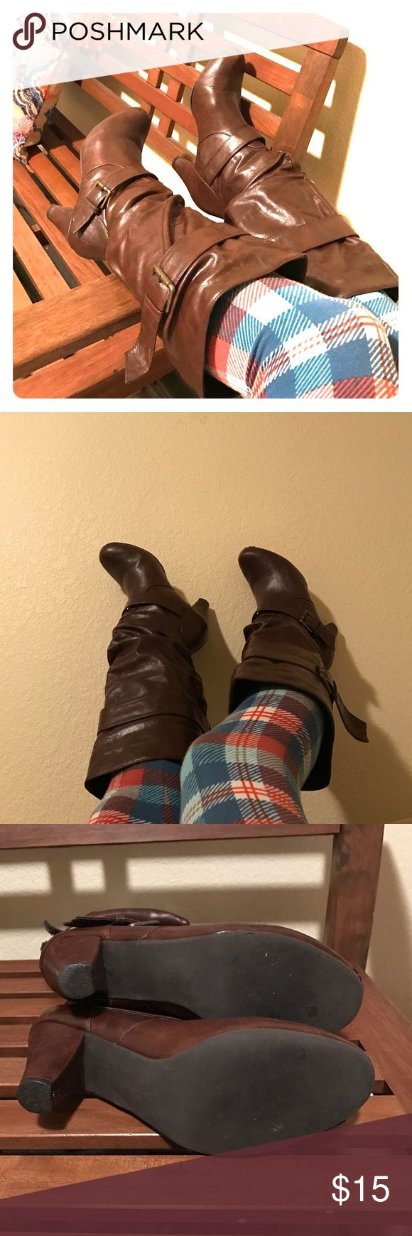 Sexy Slouchy Brown Faux Leather Boots Size 10 Super cute slouchy boots in a dark shiny brown. Excellent used (twice!!!) condition. Make these your new boots for 2017!!! Strut in style! Cute bronze buckles accent top and bottom of boot. Size 10, faux leather. Shoes Heeled Boots