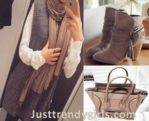mocha-neutral-fall-hijab-outfit- Hijab outfits with matching bags and shoes http://www.justtrendygirls.com/hijab-outfits-with-matching-bags-and-shoes/