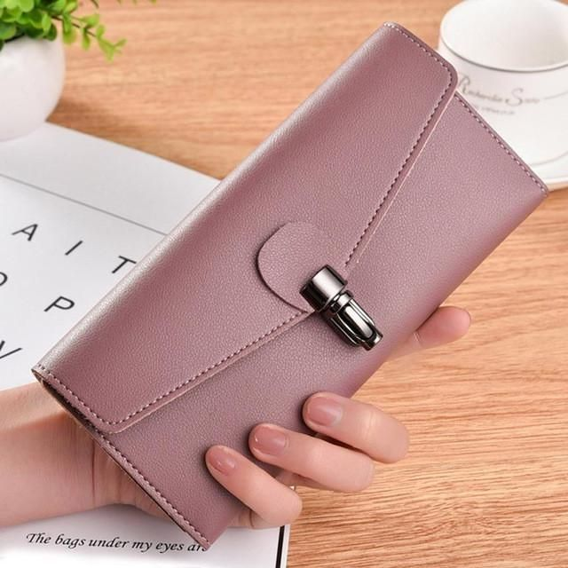 Capacity Leather Clutch long wallets with clip