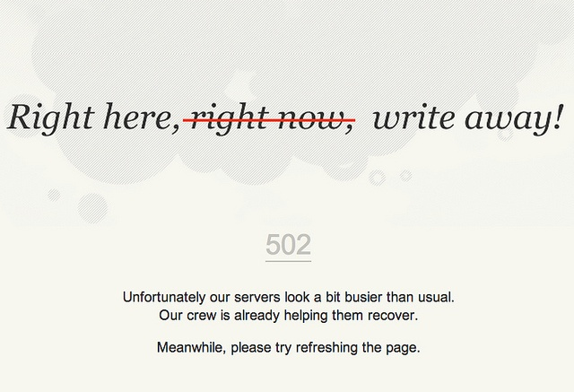 Not right now: #502 error message of blog.com by Cea., via Flickr