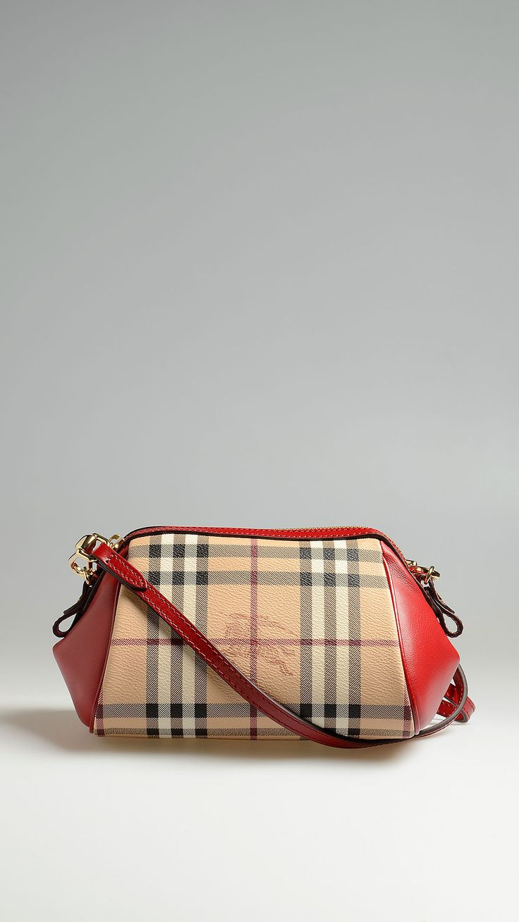 Burberry Crossbody bag in haymarket check with leather trim, removable leather shoulder strap with patent metal hardware, one inside pocket, fabric lining, 9.4 x 5.1 x 4.5 inch - 24 x 13 x 11.5 cm.
