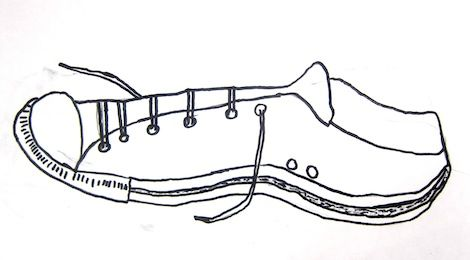 Contour Line Shoe Drawings by 3rd and 4th Graders -