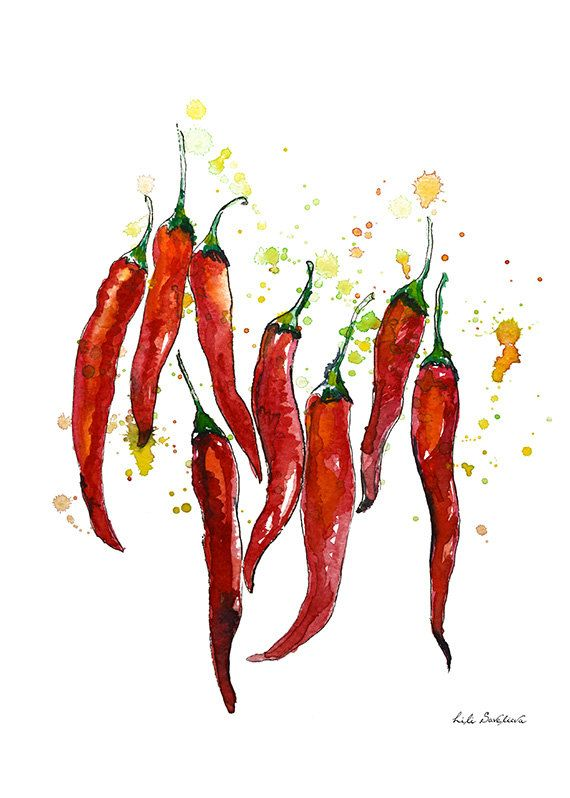 Red chili pepper, Watercolor Pepper, graphics print, Poster, Wall art, Art print, Gift, Home Decor, Digital Print, INSTANT DOWNLOAD.