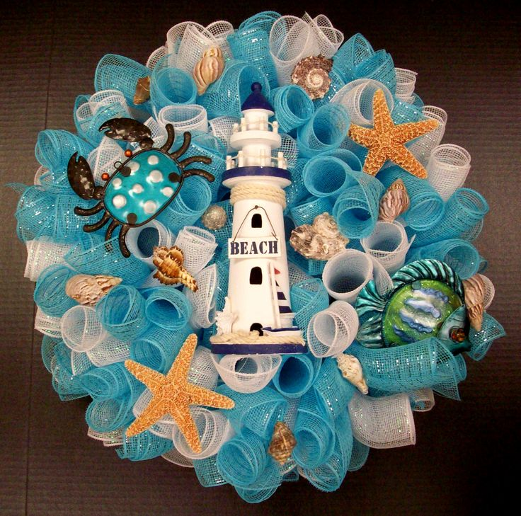 Lighthouse Wreath designed by Karen B., A.C. Moore Erie, PA #wreath #decomesh
