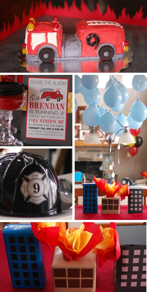 "DIY Fireman Birthday Party Ideas - ""burning buildings"""