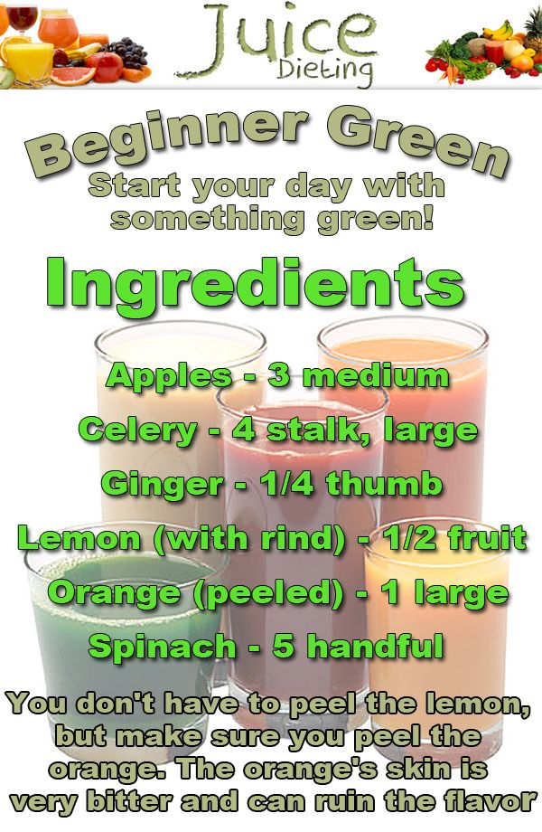 Juicing Recipe for Beginners. Juice all ingredients but spinach, then blend with spinach