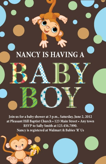 23 best monkey baby business images on pinterest monkey baby monkey themed baby shower invitations filmwisefo