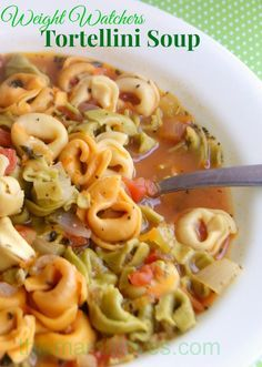 Hearty veggie soup with tortellini - 8 Weight Watchers points for a generous portion size.  Perfect for a cold winter dinner!