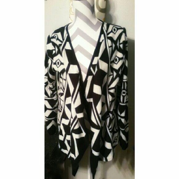 Aztec print cardigan Black/white Aztec print cardigan Faded Glory Sweaters Cardigans
