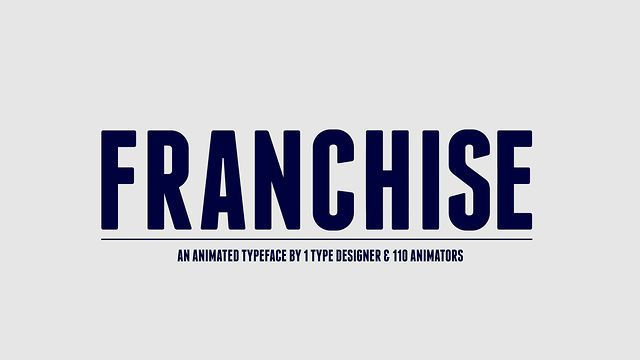 Franchise Animated is an animated typeface by 1 type designer and 110 animators. For this specific animated typeface we have round up 110 talented animators from all over the world. We asked every animator to pick a glyph and animate it using no more than 4 colors, 25 frames and a 500 x 600 px canvas in Adobe After Effects. The animators had complete freedom to work their magic within those 25 frames.