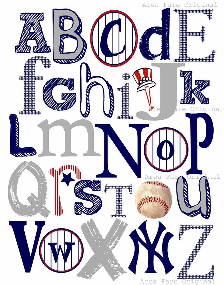 8 x 10 NY Yankees ABC Nursery Art Print. $15.00, via Etsy.