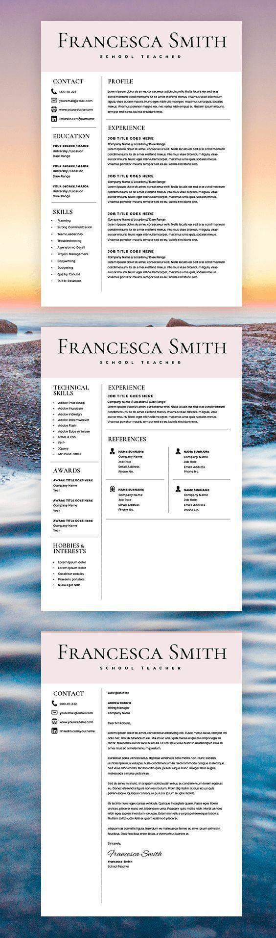 Teacher Resume Template - Resume for Teacher - Cover Letter for teacher - Microsoft Word Mac / PC - Teaching Resume - Instant Download
