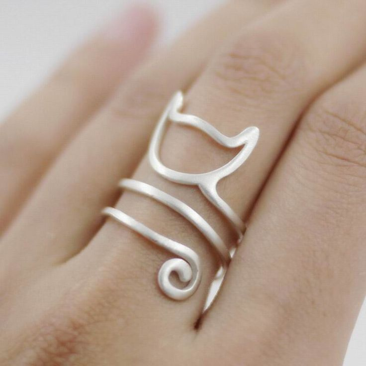 Sterling Siver Cute Cat Kitten Katze Finger Ring Item Type: Rings Fine or Fashion: Fashion Surface Width: 3mm Style: Trendy Gender: Women Material: 925 Silver Occasion: Party Metals Type: Silver Plate