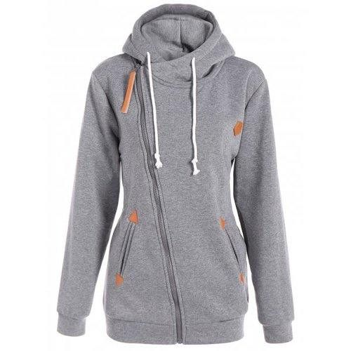Inclined Zipper Drawstring Plus Size Hoodie