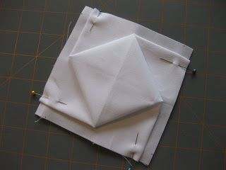 """Finally! It's ready.   First, gather your supplies:    9"""" square of background fabric  2 1/4"""" square of center fabric  permanent fabric pen ..."""