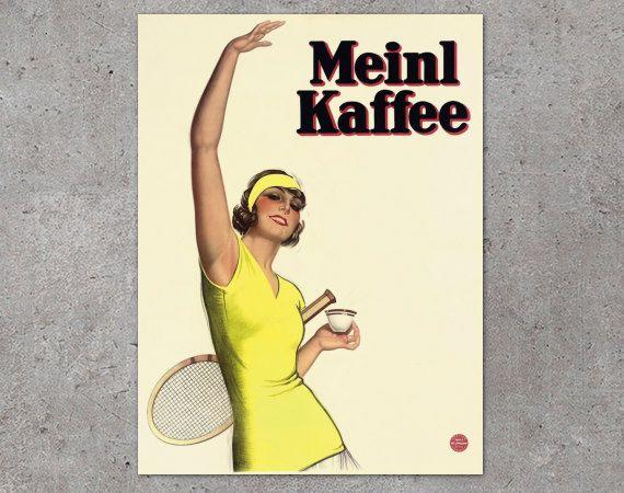 Vintage Coffee Poster  Meinl Kaffee Vintage Swiss by FoxgloveMedia