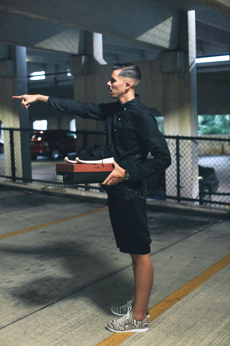 "The Dark Interlude http://theoriginative.com/blog/2013/9/14/the-dark-interlude #Nike Men's""run"" button down jacket in black, #Zara drop crotch biker shorts in black, #MissoniConverse Auckland Racer #sneakers"