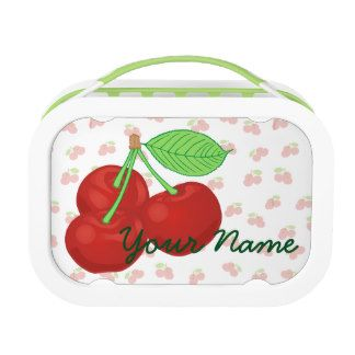 Personalized Lunch Box for girls Vintage Red Cherries Cherry Cluster