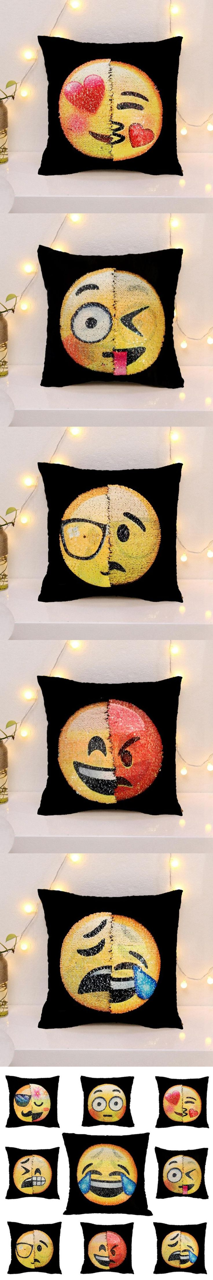 Funny Changing Face Emoji Cushion Cover DIY Sequin Mermaid Pillow Case Car Office Sofa Throw Decorative Pillowcase Home Decor