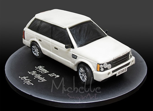 Michelle Sugar Art: White Range Rover Birthday Cake