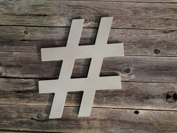 Hashtag wooden typography characters for Office design hashtags