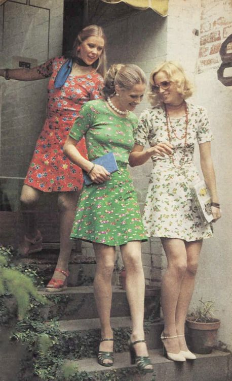 1970s mini dress skirt red green white floral shoes vintage fashion print ad models