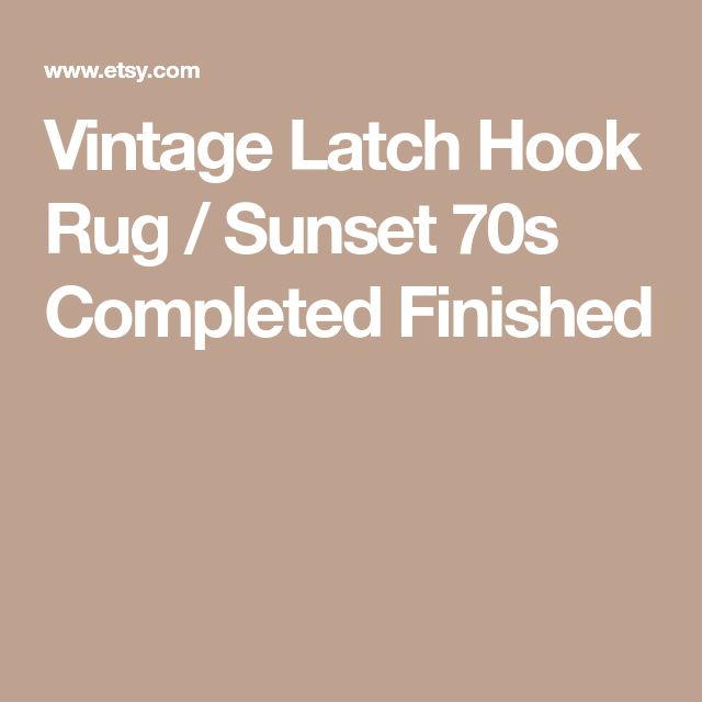 Vintage Latch Hook Rug / Sunset 70s Completed Finished
