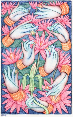 """""""Apsara Hands"""" - original watercolor painting by Francene Hart"""
