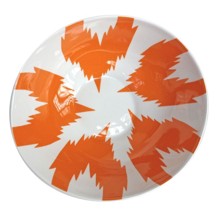 Tse & Tse Ikat Salad Bowl - Orange: With bold patterns inspired by traditional Uzbek bowls these large wide Ikat salad bowls designed by eclectic Parisian lifestyle brand Tse & Tse, are glorious in vivid orange and white porcelain, perfect for adorning your table for salads, or serving dishes. Cast in traditional moulds in France to create their unique, individual form.