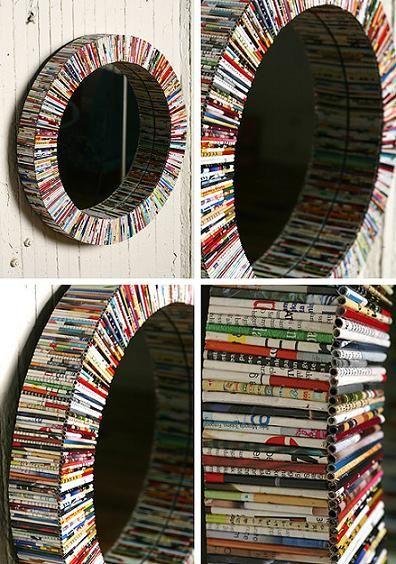 """Un espejo hecho de """"canutillos"""" de papel. #reciclaje #decoración"""