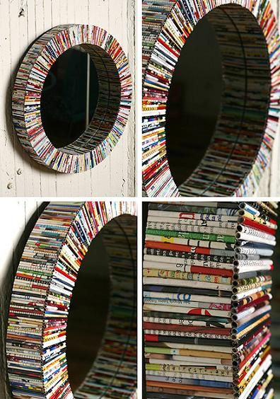 Recycled Mirror Craft.  I am thinking this would look awesome with black and white print!