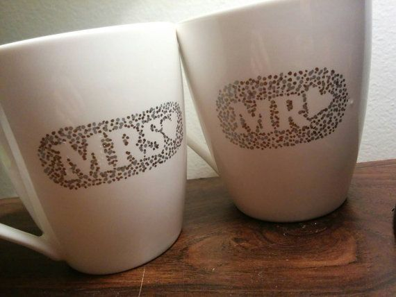 Check out this item in my Etsy shop https://www.etsy.com/listing/268495537/set-of-2-mr-mrs-dotted-mugs-gold-and