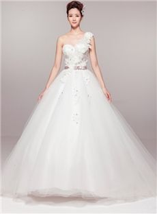 Lace-up Garden/Outdoor Fall Sleeveless Spring Natural One Shoulder Plus Size Wedding Dress