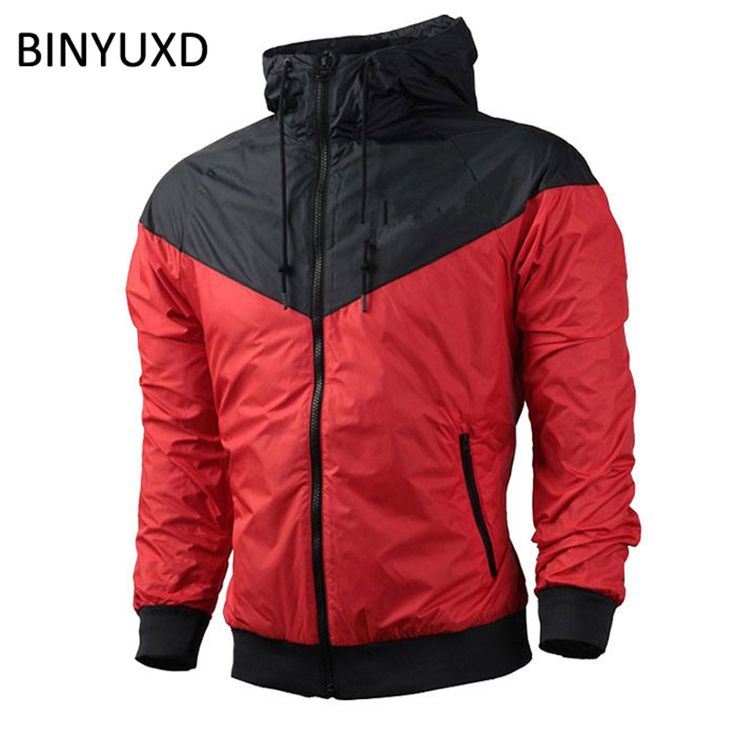 Spring Autumn Casual Jacket Men Patchwork Hooded Outerwear & Coats New 2017 Big Size Sporting Thin Windbreaker Waterproof Jacket #Affiliate