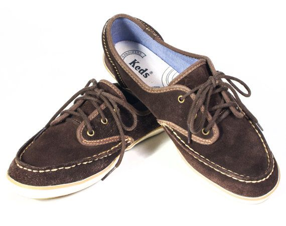 VTG 90's Teddy Bear Brown Suede Leather Boat Shoes size 8 1/2 Womens Oxfords Tennis Shoes Lace Up Keds