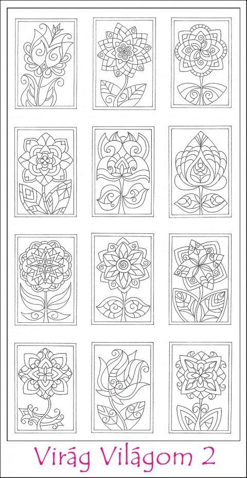 Virág Világom 2 színező lapok - nyomtatható, Képzőművészet , Grafika, Rajz, Meska